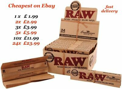 RAW CLASSIC + TIPS Connoisseur King Size Slim Genuine Unrefined Rolling Papers