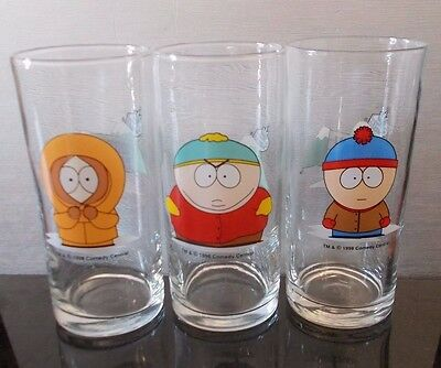 1998 3x / Trio of Hi Ball Glasses Comedy Central South Park Eric, Kenny and Stan