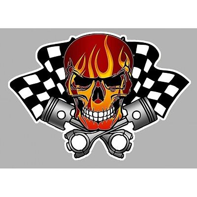 Sticker Skull damier pistons flams