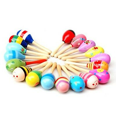 UK Wooden Ball Toy Sand Hammer Rattle Musical Instrument Percussion Baby Kids