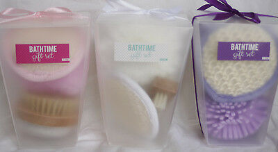 Bath & Shower Scrub Gift Set -Luxury Pre Wrapped Bath Set Ruffle Nail brush pad
