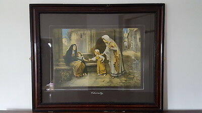 An Old Vintage Religious/Biblical Collectable Framed Print Hand Titled 'Charity'