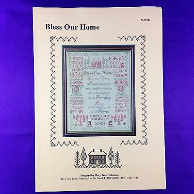 "Vintage Cross Stitch Chart Sampler ""Bless Our Home"" by Mary Jane Collection"