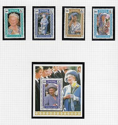 (74855) Turks & Caïques MNH Reine mère 90th mini feuille + timbres 1990 u/m