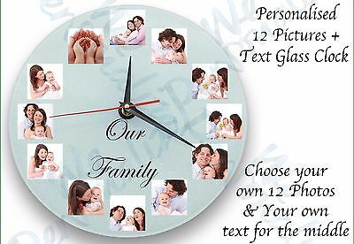 Personalised wall glass clock with 12 photos/ text  all occasion gift birthday