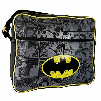 DC Batman Logo Kids Messenger, Courier, Shoulder School Bag Comic Book Print