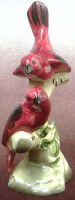 Vintage Red Birds On Tree Maddux of California Pottery Ceramic Bird Figurine