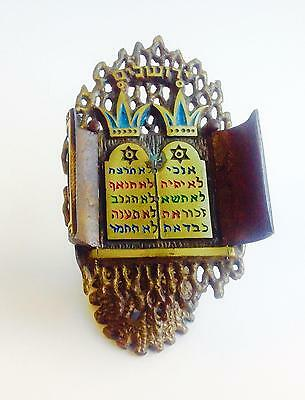 Vintage Judaica Brass Hebrew Ten Commandments Ark Doors With Stand