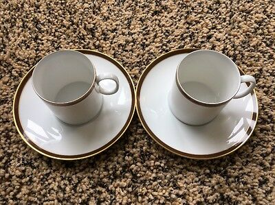 set of 2 Rosette flat cup & saucer sets by Rosenthal Continental China