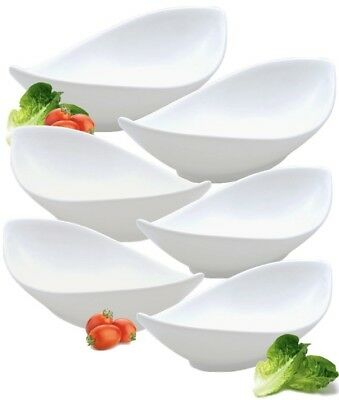 """Set Of 4 Pure White Oval Twist Dishes Side Bowls Salad Bowls Rice Bowls 24cm 9/"""""""