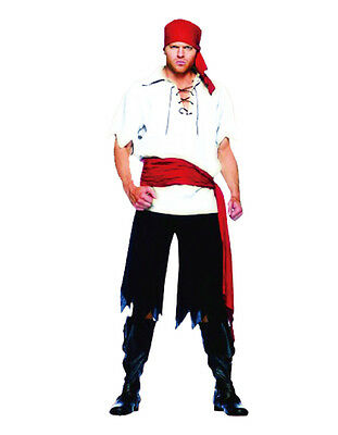 Adult Mens Pirate Costume Blackbeard Jack Sparrow Caribbean Pirates Fancy Dress