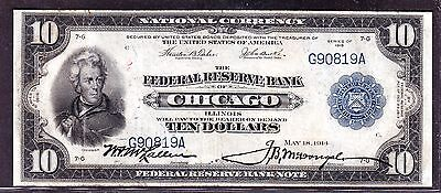 US 1918 $10 FR 813 FRBN Chicago District VF (-819)