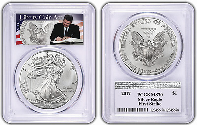 2017 PCGS MS70 FIRST STRIKE Silver Eagle LIBERTY COIN ACT REAGAN LABEL