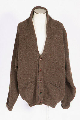 Vtg 90s EDDIE BAUER Brown Wool Knit Shawl Collar Cardigan Sweater Jacket Mens L