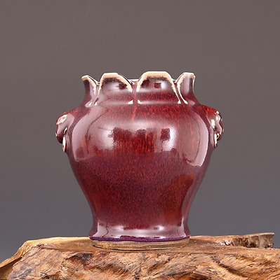 chinese ancient Cowpea red glaze porcelain carving Beast ear lotus pot