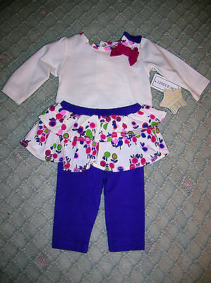 ❤️new❤️cute❤️0-3M❤️ 2 Piece Outfit❤️baby Girl❤️pants,top❤️pink & Purple Flowers
