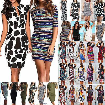 Womens Pencil Dress Bodycon Stretch OL Formal Work Summer Party Evening Dresses