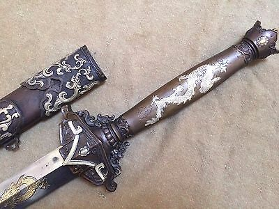 "Collectable Chinese Sword ""劍"" Double Edges Dragon Sword Signed Sword"