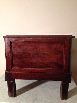 Vintage Wood Commode Chamber Pot Chair Box Toilet Seat Porcelain Potty