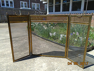 Old-Vintage-Antique,Brass-Fold-3-Panel-Fireplace-Screen-Metal-Mesh