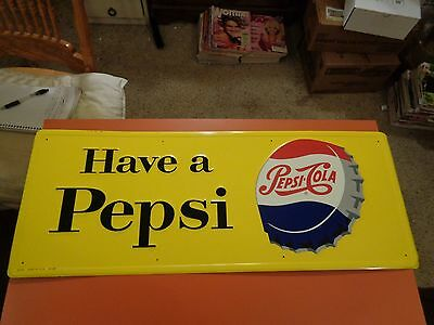Very Nice PEPSI COLA SODA TIN SIGN. WONDERFUL CONDITION 31 x 12 inches