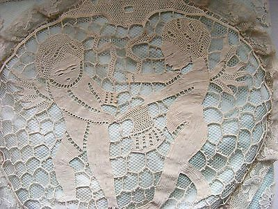 Antique Needlelace Boudoir Pillow Cherubs Tugging Cherub Trim on Fernch Net