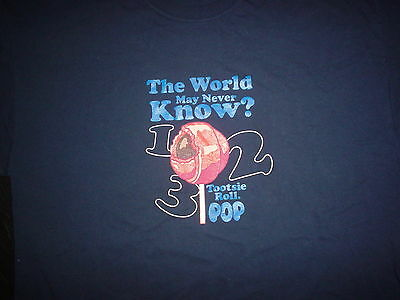TOOTSIE ROLL POP How Many Licks Does It Take The World May Never Know XL T SHIRT