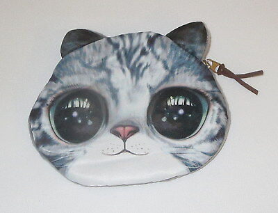Gray Striped Cat Coin Purse Big Eyes New Padded Kitten Zipper Top Tabby Cats