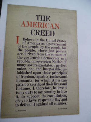c.1930 THE AMERICAN CREED Cass Tech High School Printery Poster Detroit Vintage