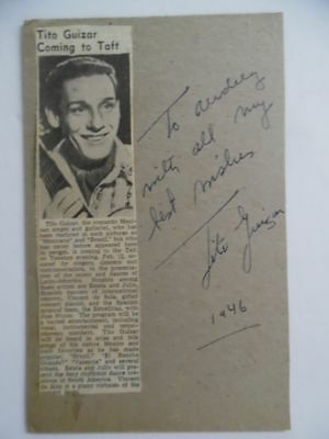 1946 Tito Guizar Mexican Signer Actor Signed Inscribed Card Autograph In Person!