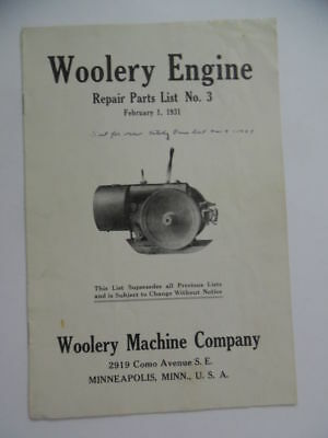 1931 Woolery Machine Company GAS ENGINE Repair Parts List Catalog Manual Vintage