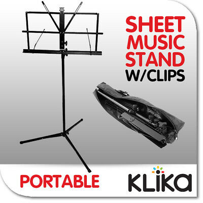 NEW FOLDING ADJUSTABLE MUSIC SHEET STAND IN BAG with Clips