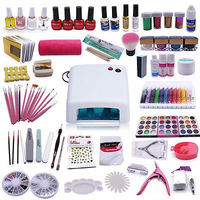 KIT Manucure Pédicure LED Lampe Gel UV Ongle Glitter Faux Pinceau Nail Art Colle