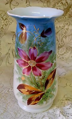 VINTAGE HANDPAINTED FLORAL GLASS 26cm VASE BLUE PINK GREEN WHITE