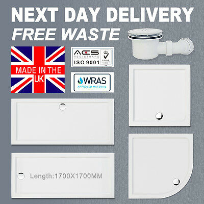 Square/Rectangle Shower Tray 45mm For Enclosure Glass Door Bathroom Free Waste