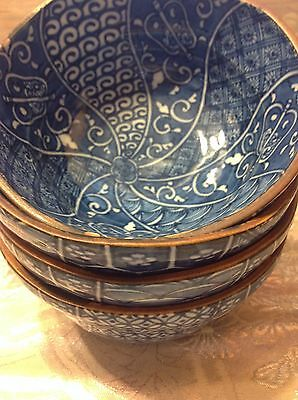 Antique Japanese Blue Soup/Rice Bowl set of 4/pcs stamped on bottom