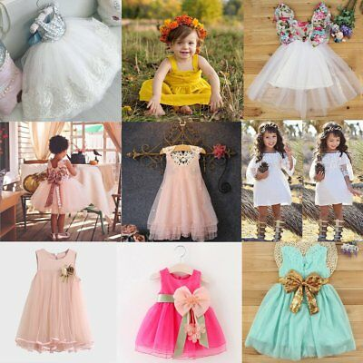 Toddler Infant Girls Princess Tutu Dress Baby Kids Pageant Party Lace Dresses