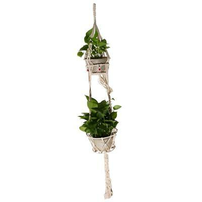 Plant Hanger Pot Holder Cotton Macrame 4 Legs Double Hanging Basket 125cm