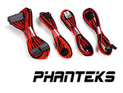 NEW Phanteks Sleeved Cable Extension Kit Black/Red