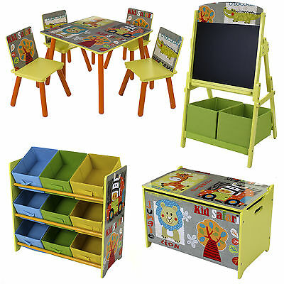 Safari Style Kids Childrens Table Chair Set Toy Box Storage Shelves Chalkboard