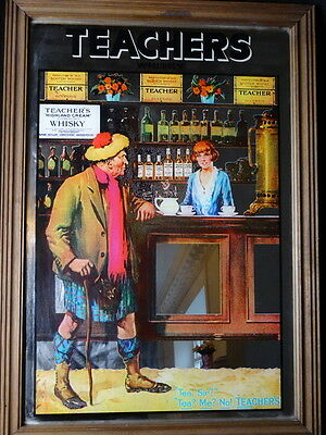 Collectible Colourful Teachers Glasgow Scottish Whisky Advertising Wall Mirror