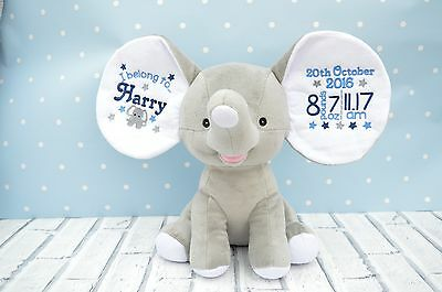 Personalised Teddy Bear Cubbie Dumble Elephant, New Baby Gift, christening gift