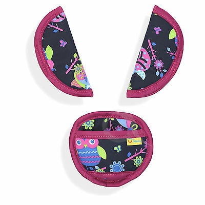 SOFT belts pads shoulder STRAP CROTCH cover UNIVERSAL fit ALL seats P135-fuchsia