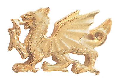Welsh Dragon Pin Badge Made in Gold Plated English Pewter