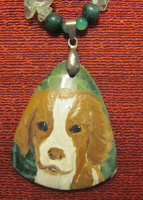 Brittany hand painted on green bell-shaped Agate pendant/bead/necklace