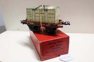 Hornby O Gauge Low Sided Wagon Excellent With Meat Container Mark On Roof Ks91