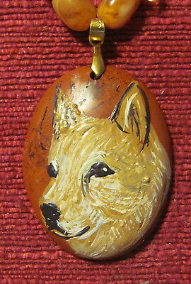 Australian Cattle Dog, red, hand painted on oval Red Jasper pendant/bead/necklac