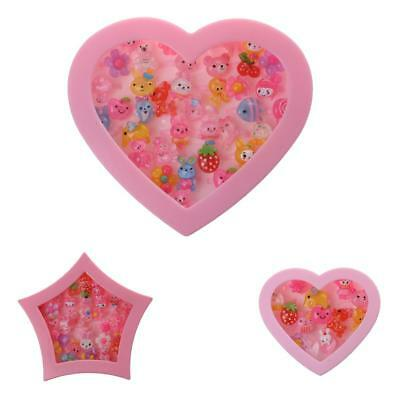 Kids Adjustable Pink Plastic Rings with Pink Heart Gift Box Girls Jewelry Set