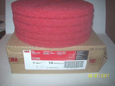"10- 3M Red 5100 Buffer Pads 14"" 175-600RPM NIB 5 IN BOX 2 boxes t"
