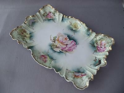 Antique Vtg Prussia Rs Hand Painted Gold & Pink Roses Flower Porcelain Dish Tray